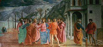 Adoration in the Forest (Lippi) - In Masaccio's art, 'Biblical characters suddenly seemed real people, moving in the real world, convulsed by real emotions.  Lippi's earliest surviving work shows the influence of Masaccio's bold sculptural figures. It was said the spirit of Masaccio had entered Filippo Lippi. (Above, Masaccio's The Tribute Money)