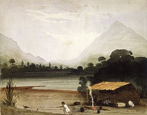 Charles Heaphy - William Fox's painting of a scene from his February 1846 expedition with Heaphy and Thomas Brunner. Heaphy and Brunner rest in the front of a crude hut while the expedition's Māori guide, Kehu, snares a weka with a lure of food on a stick and a long pole with a noose
