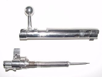 Firing pin - Mauser M 98, bolt and firing pin and safety mechanism field stripped.