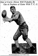 Newspaper clipping of McMillin throwing a football
