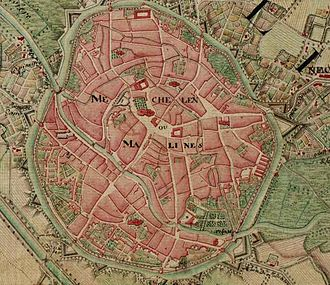 Mechelen - Mechelen on the Ferraris map (around 1775)