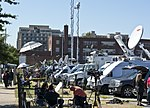 Media trucks in parking lot across the street - 700 M Street SE - Washington Navy Yard shooting - 2013-09-17.jpg