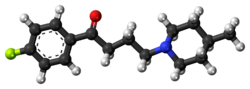 Space-filling model of the melperone molecule