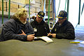 Members of a U.S. Navy Board of Inspection and Survey (INSURV) discuss the next scheduled equipment demonstration aboard the amphibious transport dock ship USS Mesa Verde (LPD 19) Jan. 16, 2014, in the Atlantic 140116-N-BD629-018.jpg