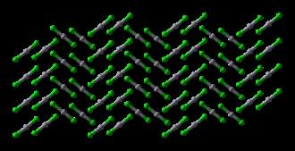 Mercury(II) chloride - Image: Mercury(II) chloride xtal 1980 3D balls