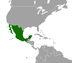 Map indicating locations of Mexico and Saint Lucia