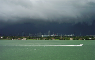 Climate of Florida - Typical summer afternoon shower from the Everglades travelling eastward over Downtown Miami.