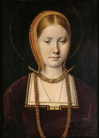 Portrait of a noblewoman, possibly Mary Tudor c. 1514 or Catherine of Aragon c. 1502, by Michael Sittow. Kunsthistorisches Museum, Vienna. Michel Sittow 002.jpg