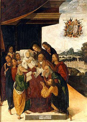 Michele Coltellini - Death of the Virgin, 1502, now at  Pinacoteca Nazionale (Bologna).