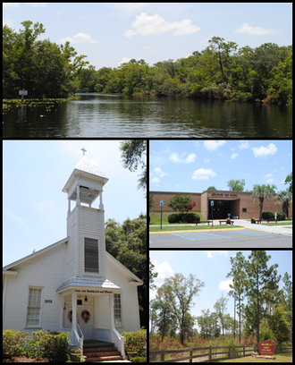 Middleburg, Florida - Top, left to right: Black Creek, Middleburg United Methodist Church, Middleburg High School, Jennings State Forest