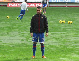 Miguel Ángel Guerrero - Guerrero warming up with Sporting de Gijón in 2014.