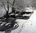 Mill Pond Weir St Johns Wood Calder Vale after Snowfall - geograph.org.uk - 1204623.jpg