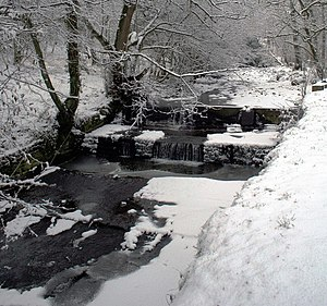 River Calder, Wyre - Image: Mill Pond Weir St Johns Wood Calder Vale after Snowfall geograph.org.uk 1204623