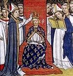 Miniatura da coroação de Filipe III de França, sucessor de São Luís no trono francês (Grandes Chroniques de France, séculos XIV-XV)