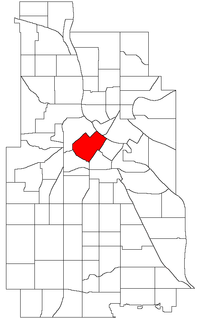 Location of Downtown West within the U.S. city of Minneapolis
