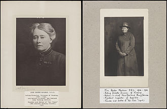 New Zealand Army Nursing Service - This photographs dated 1906-1923 depicts Hester MacLean during the period when she was Assistant Inspector of Hospitals for New Zealand. MacLean was also Matron in Chief of the New Zealand Army Nursing Service. In 1917 MacLean was awarded the Royal Red Cross (first class) for her work.