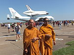 Monks In Front Of Space Shuttle Endeavour.JPG
