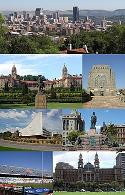 From the top, left corner clockwise:Pretoria CBD skyline, Front view of the Union Buildings, Voortrekker Monument, Administration Building of the University of Pretoria, Church Square, Loftus Versfeld Stadium and the Palace of Justice.