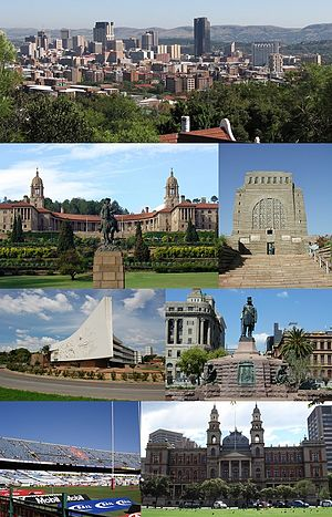 Pretoria - Clockwise from top left: Pretoria CBD skyline, Voortrekker Monument, Church Square, the Palace of Justice, Loftus Versfeld Stadium, Administration Building of the University of Pretoria and Front view of the Union Buildings.