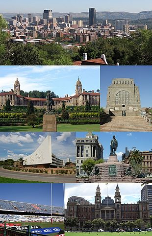 "Clockwise from top left: Pretoria CBD skyline, Front view of the <a href=""http://search.lycos.com/web/?_z=0&q=%22Union%20Buildings%22"">Union Buildings</a>, <a href=""http://search.lycos.com/web/?_z=0&q=%22Voortrekker%20Monument%22"">Voortrekker Monument</a>, Administration Building of the <a href=""http://search.lycos.com/web/?_z=0&q=%22University%20of%20Pretoria%22"">University of Pretoria</a>, <a href=""http://search.lycos.com/web/?_z=0&q=%22Church%20Square%2C%20Pretoria%22"">Church Square</a>, <a href=""http://search.lycos.com/web/?_z=0&q=%22Loftus%20Versfeld%20Stadium%22"">Loftus Versfeld Stadium</a> and the <a href=""http://search.lycos.com/web/?_z=0&q=%22Palace%20of%20Justice%20%28South%20Africa%29%22"">Palace of Justice</a>."