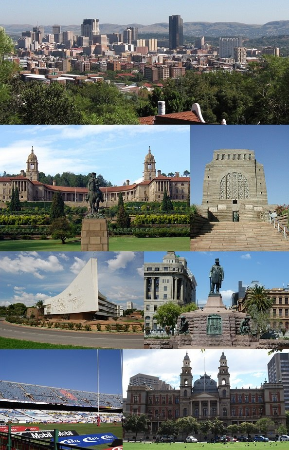 Clockwise from top left: Pretoria CBD skyline, Voortrekker Monument, Church Square, the Palace of Justice, Loftus Versfeld Stadium, Administration Building of the University of Pretoria and Front view of the Union Buildings.