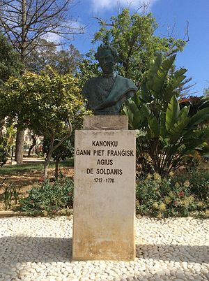 Giovanni Pietro Francesco Agius de Soldanis - Monument of de Solidanis at Villa Rundle Gardens in Victoria, Gozo
