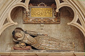 Amyas Bampfylde - Effigy of Dorothy Bampfield, daughter of Sir Amyas Bampfield, Lady Chapel of Exeter Cathedral