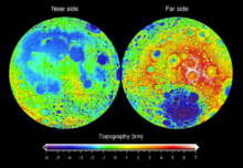 Topografie o the Moon meisurt frae the Lunar Orbiter Laser Altimeter on the mission Lunar Reconnaissance Orbiter, referenced tae a sphere o radius 1737.4 km