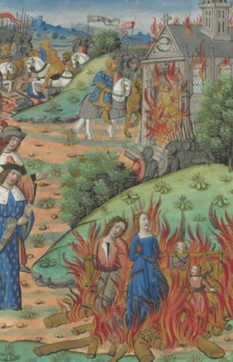"Chram - ""Death of Chramn"" . Guillaume Crétin, Chroniques Françaises. After 1515, Rouen, France. Bibliothèque Nationale de France."