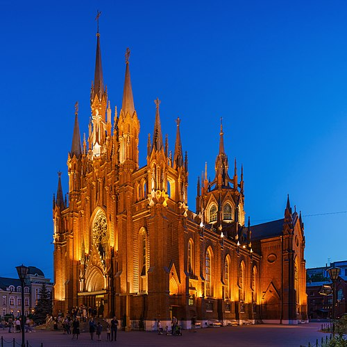 The Cathedral of the Immaculate Conception in Moscow, an example of Brick Gothic revival. Moscow Immaculate Conception Church asv2019-06 img1.jpg
