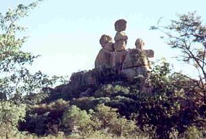 Balancing Rocks - Balancing formation seen in Matopos National Park, known as the Mother and Child inselberg