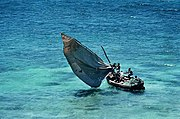 A fishing boat uses a traditional propulsion system in Mozambique