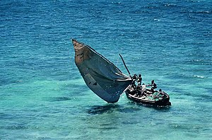 Traditional fishing boat in Mozambique.