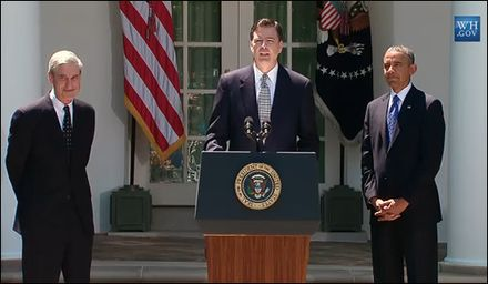 James Comey speaks at the White House following his nomination by President Barack Obama to be the next director of the FBI, June 21, 2013 Mueller comey obama september 2013.jpg