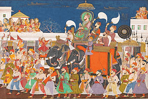 Kota, Rajasthan - Procession of Raja Ram Singh II of Kota Later Mughal Period, c. 1850