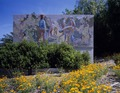 Mural and roadside flowers in Fresno, California LCCN2011634317.tif