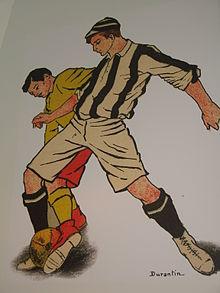 Una fase di gioco fra atleti dell'epoca pionieristica (Genoa Museum and Store, Genova)