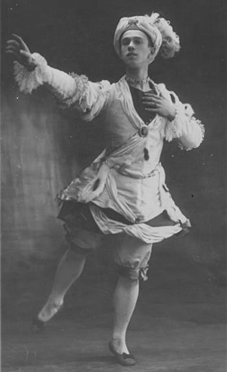 Vaslav Nijinsky - Nijinsky as Armide's slave in Le Pavillon d'Armide. The middle act was originally choreographed by Michel Fokine as L'animation de Gobelins for the 1907 Imperial ballet school student show, and was performed by the new Ballets Russes on its opening night in Paris, 1909