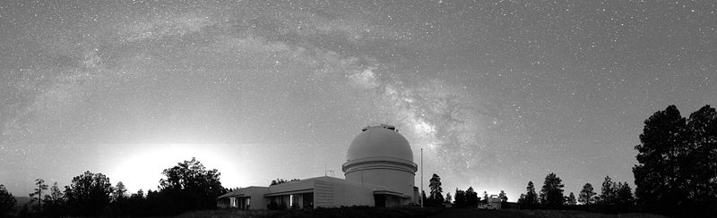Night-time panoramic of operations at the United States Naval Observatory Flagstaff Station (NOFS)