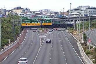 Northwestern Motorway - Looking east towards the Central Motorway Junction.
