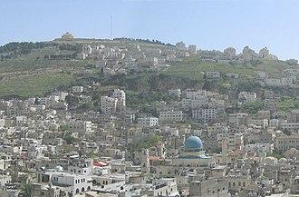 Mount Gerizim - Old city of Nablus and Mount Gerizim in background