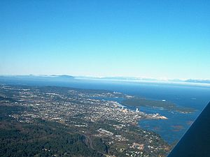 Newcastle Island Marine Provincial Park - Aerial shot of Nanaimo and surrounding area, showing location of Newcastle Island
