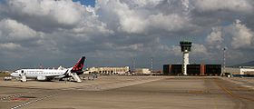 Napoli -Airport Control Tower and airplane- 2010 by-Raboe 77.jpg