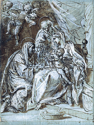 Niccolò Berrettoni - The Holy Family and Saint Ann, Reading a Psalm by Niccolò Berrettoni, Museum Kunstpalast, 1679