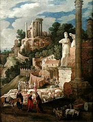 Krajobraz z antycznymi ruinami, świątynią Westy i posągiem Bellony oraz historią powrotu Tobiasza do domu
