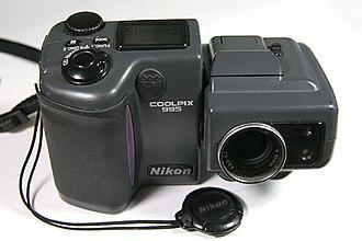 Nikon Coolpix 995 - Image: Nikon Coolpix 995 with lenscap off