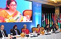 Nirmala Sitharaman addressing the 4th India-Africa Trade Ministers' meeting, in New Delhi on October 23, 2015. The Commerce Secretary, Ms. Rita A. Teaotia and other dignitaries are also seen.jpg
