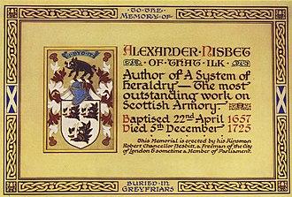 Alexander Nisbet - Memorial to Alexander Nisbet in Greyfriars Kirk, Edinburgh.