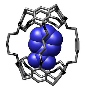 Molecular encapsulation - Molecular encapsulation of a nitrobenzene bound within a hemicarcerand reported by Cram and coworkers in Chem. Commun., 1997, 1303-1304.