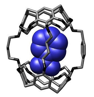 Carcerand - Crystal structure of a nitrobenzene bound within a hemicarcerand reported by Cram and coworkers in Chem. Commun., 1997, 1303-1304.